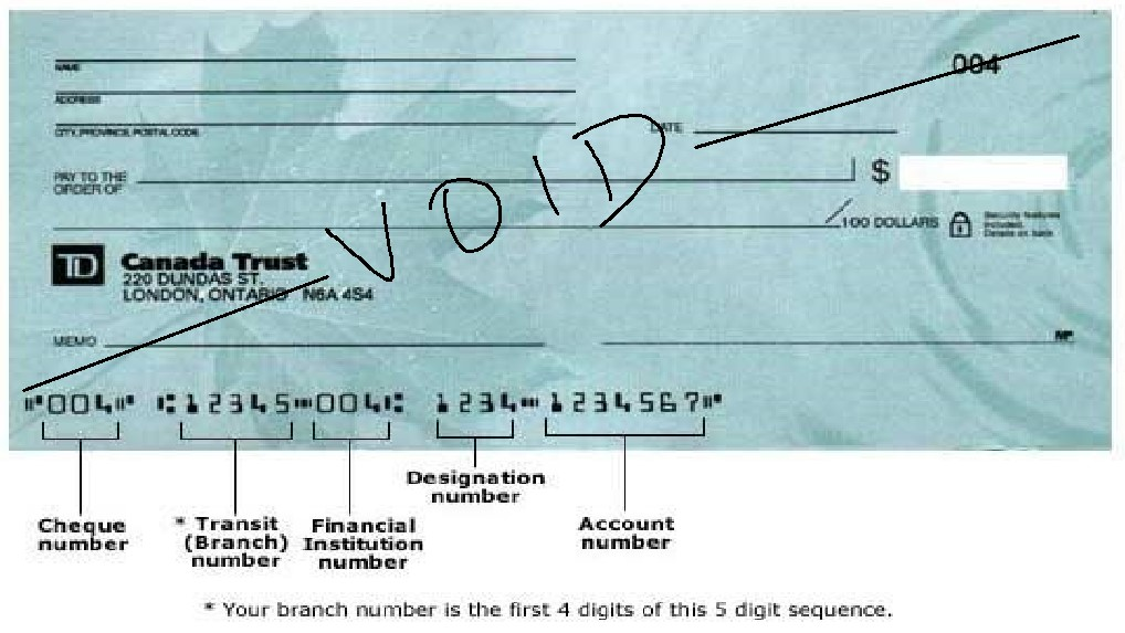 How do I get and provide a void cheque?