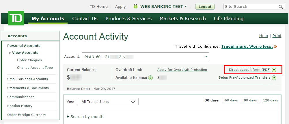Where can I find my account number and information for Direct Deposits in EasyWeb?